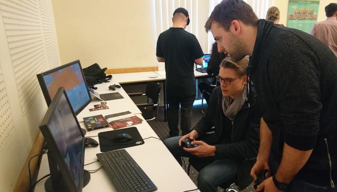 Students of the Berlin SAE campus present their game portfolios at the Berlin state parliament